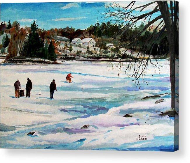 Millbury Acrylic Print featuring the painting Singeltary Lake Ice Fishing by Scott Nelson