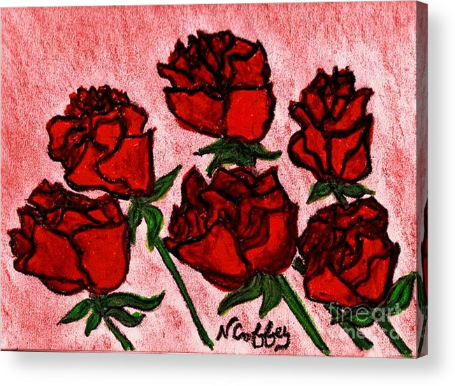 Roses Acrylic Print featuring the drawing Six Roses by Neil Stuart Coffey