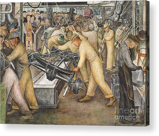 Machinery Acrylic Print featuring the painting South Wall Of A Mural Depicting Detroit Industry by Diego Rivera