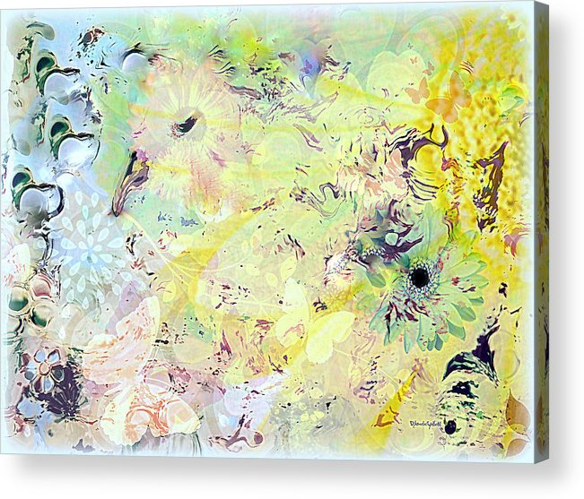 Flowers Acrylic Print featuring the mixed media Spring Happiness by YoMamaBird Rhonda