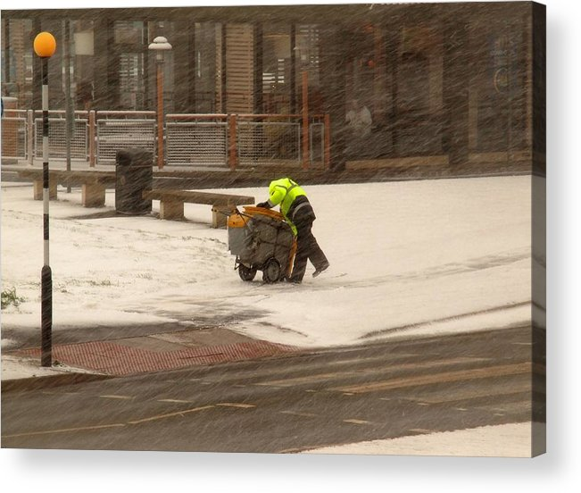 Council Worker Acrylic Print featuring the photograph Street Cleaner by Susan Tinsley