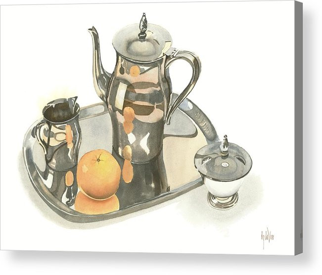 Tea Service With Orange Acrylic Print featuring the painting Tea Service With Orange by Kip DeVore