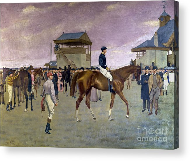 Racehorse Acrylic Print featuring the painting The Owner S Enclosure Newmarket by Isaac Cullen
