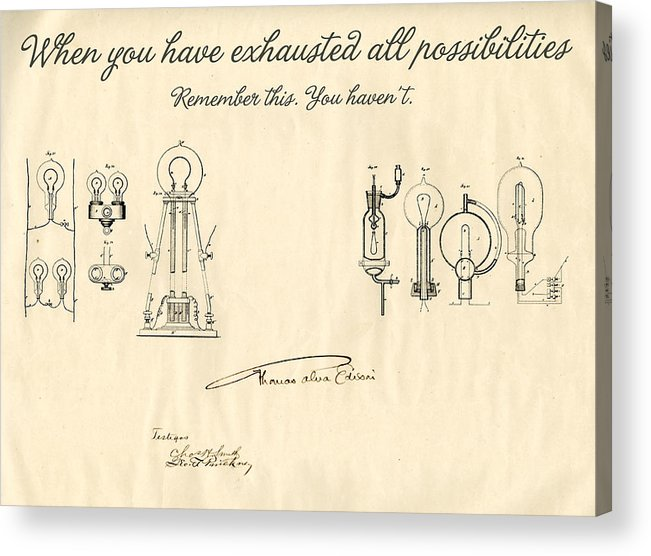 Thomas Edison Acrylic Print featuring the mixed media Thomas Edison Quote by Gina Dsgn