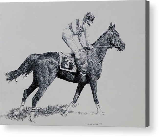 Racehorse Horse Horseracing Thorobreds Jockey Acrylic Print featuring the drawing To The Gate by Tony Ruggiero