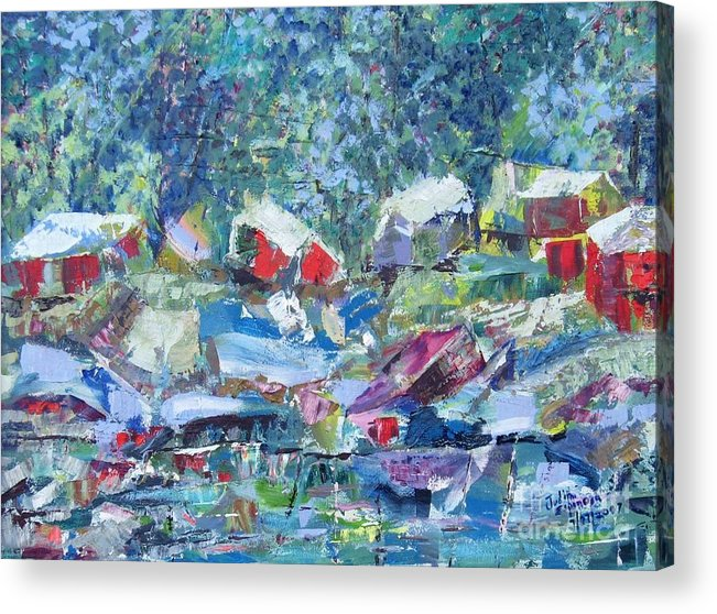Landscape Acrylic Print featuring the painting Two Canoes - Sold by Judith Espinoza