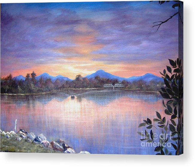 River Acrylic Print featuring the painting Upriver by Rita Palm