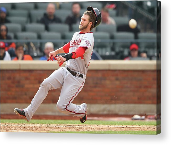 American League Baseball Acrylic Print featuring the photograph Washington Nationals V New York Mets by Al Bello
