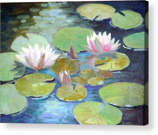 Acrylic Print featuring the painting Water Lily Cluster by Douglas Turner