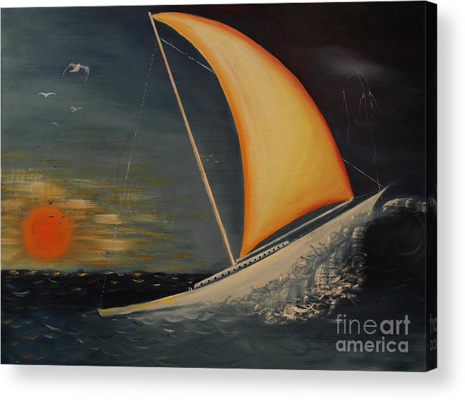 Oil Painting Acrylic Print featuring the painting Wave Crasher by Wayne Cantrell