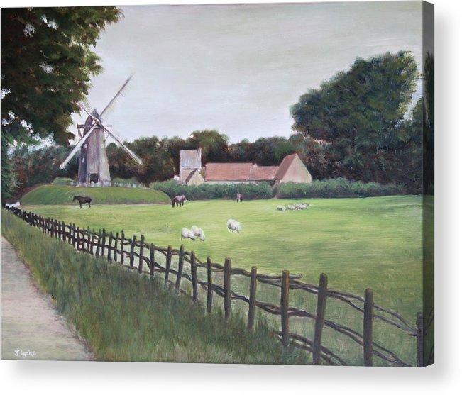 Farm Acrylic Print featuring the painting Windmill On Farm by Jennifer Lycke
