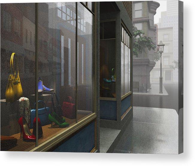 Gray Acrylic Print featuring the digital art Window Shopping by Cynthia Decker