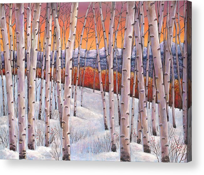 Autumn Aspen Acrylic Print featuring the painting Winter's Dream by Johnathan Harris