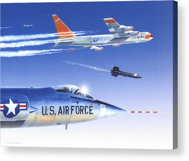 Nasa Acrylic Print featuring the painting X-15 Launch by Douglas Castleman