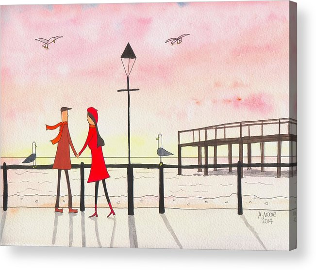 People Acrylic Print featuring the painting You Me And The Seagulls by Andy Moore