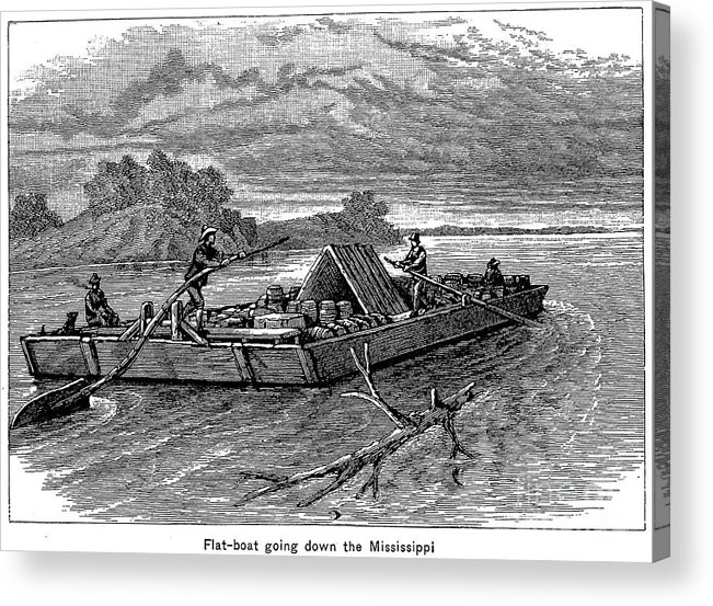 19th Century Acrylic Print featuring the photograph Mississippi: Flatboat by Granger