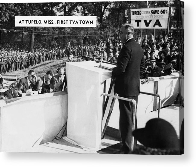 1940s Candid Acrylic Print featuring the photograph President Franklin D. Roosevelt by Everett