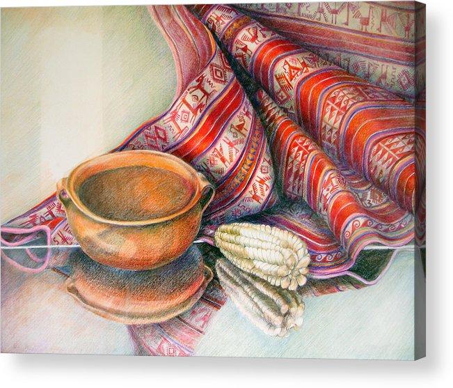 Copper Acrylic Print featuring the drawing Alfareria Sobre Aguayo Con Choclo by Sonia Tudela
