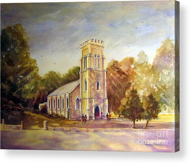 Church.anglican Acrylic Print featuring the painting Anglican Church Beechworth Victoria by Audrey Russill