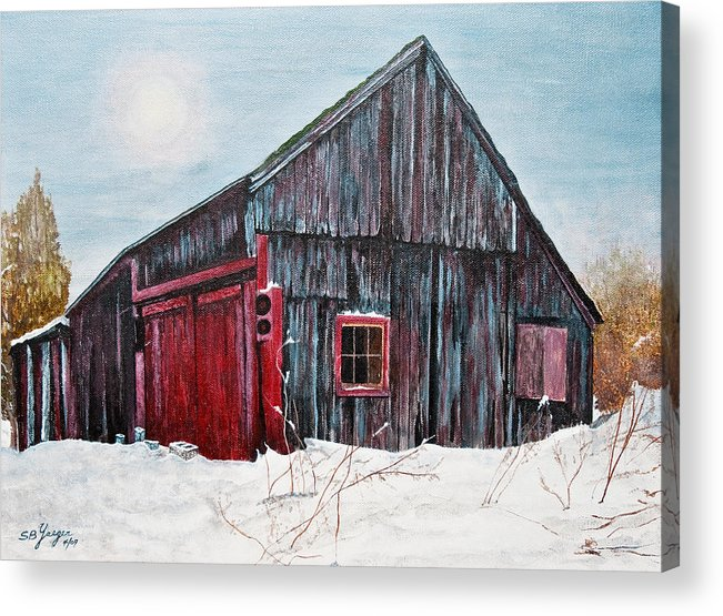 Acrylic Print featuring the painting Barn In Snow Southbury Ct by Stuart B Yaeger