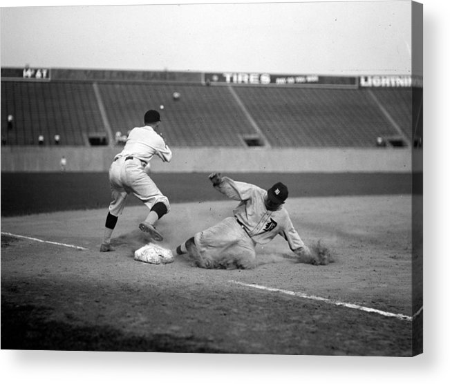 1920s Acrylic Print featuring the photograph Baseball. Ty Cobb Safe At Third by Everett
