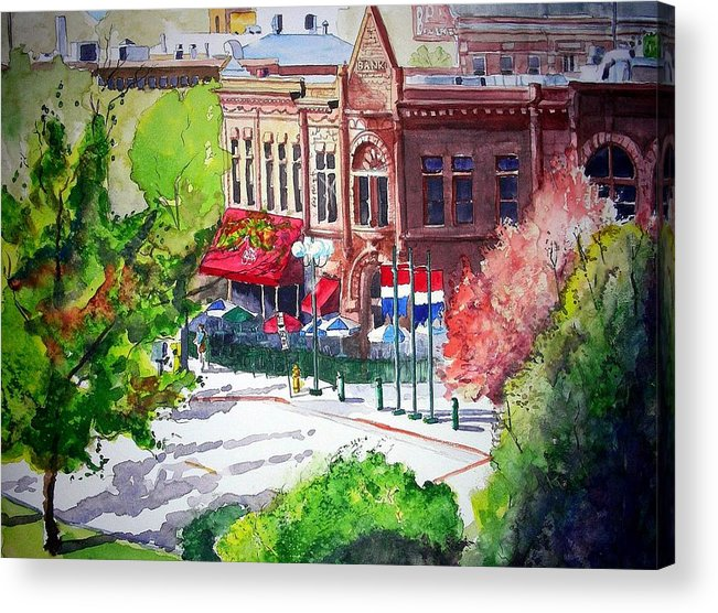 Watercolor Acrylic Print featuring the painting Beau Jo's by Tom Riggs