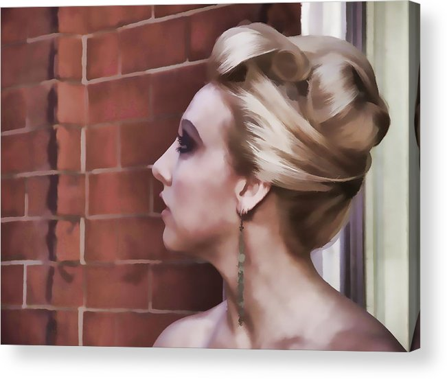 Woman Lady Beauty Classic Portrait Updo Blonde Acrylic Print featuring the photograph Dangling Earring by Alice Gipson
