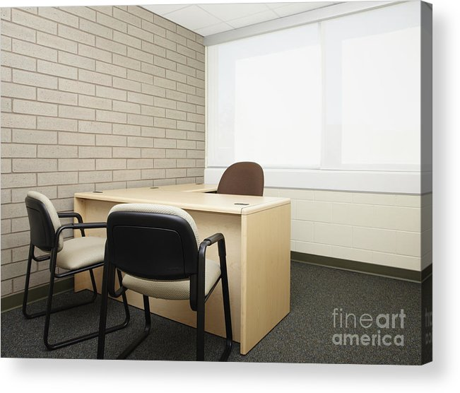 Abandoned Acrylic Print featuring the photograph Empty Desk In An Office by Skip Nall