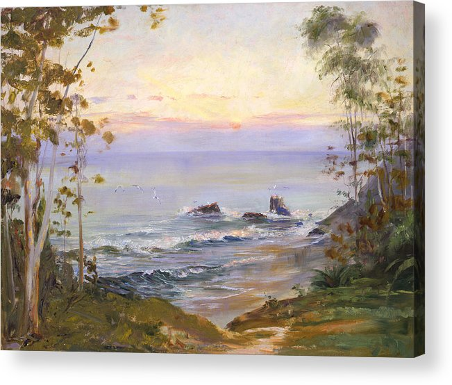 Seascapes Acrylic Print featuring the painting Eucalyptus By The Sea by Lewis A Ramsey