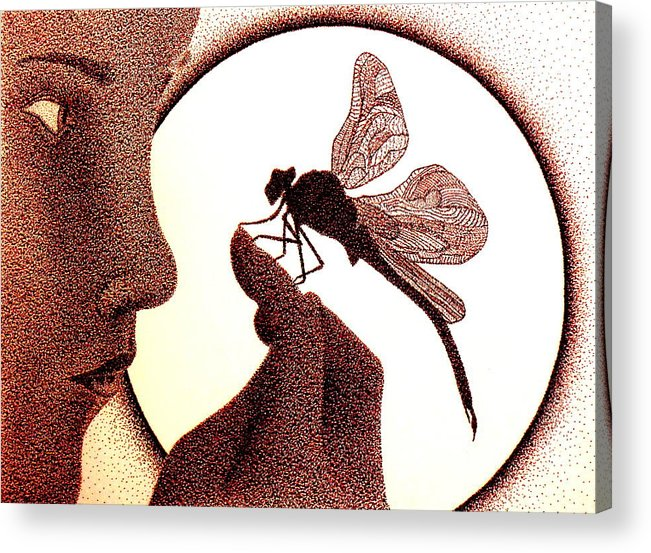 Dragon Fly Acrylic Print featuring the drawing Feeling Safe by Kip Vidrine