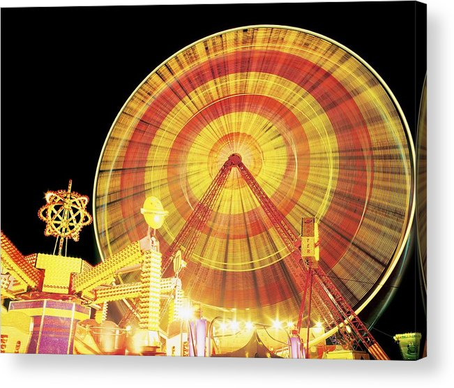 Amusement Park Acrylic Print featuring the photograph Ferris Wheel And Other Rides, Derry by The Irish Image Collection