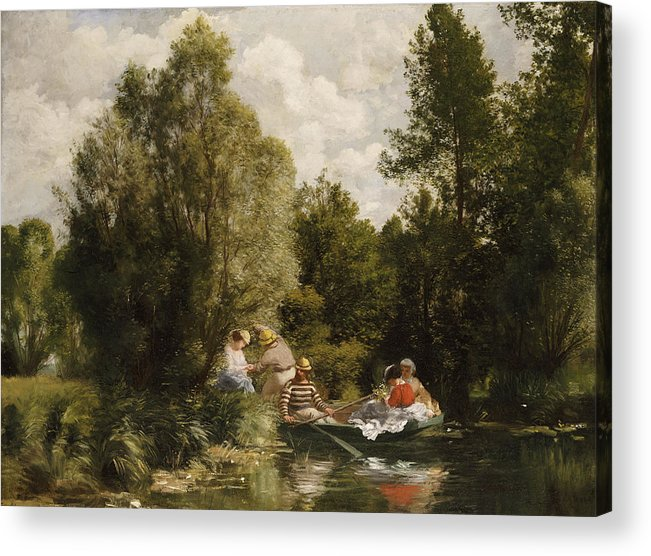 Impressionist; Impressionism; Boat; Boating; Male; Female; Tree; River; Grass Acrylic Print featuring the painting La Mare Aux Fees by Pierre Auguste Renoir