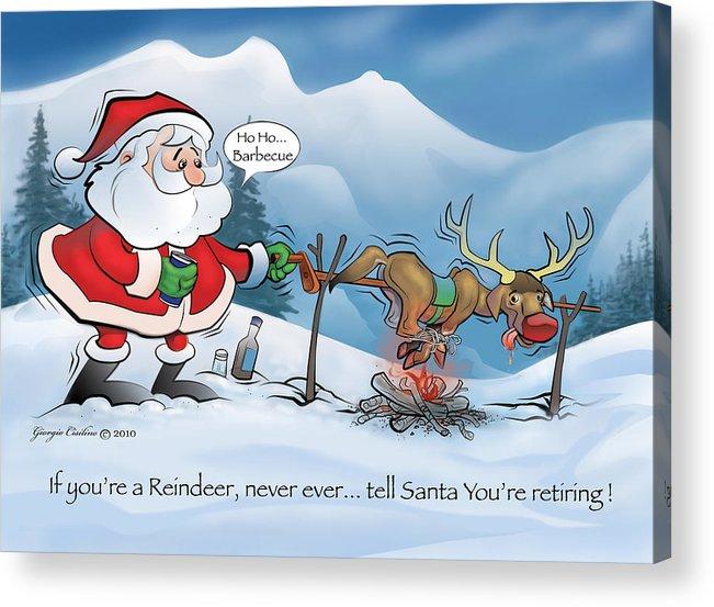 Santa's Barbecue Cartoon Acrylic Print featuring the digital art Northpole Bbq by Giorgio Cisilino