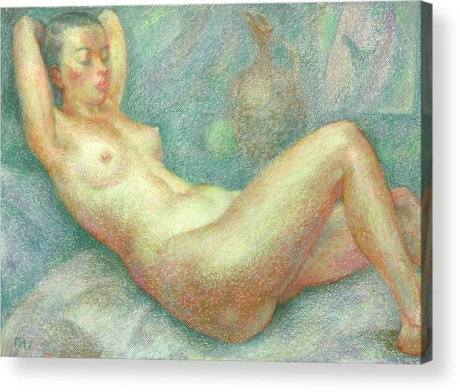 Nude Acrylic Print featuring the painting Nu 33 by Leonid Petrushin