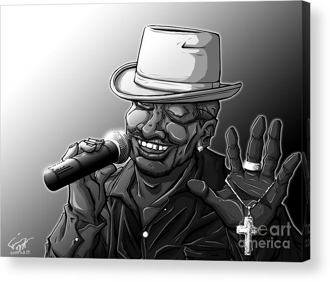 Tuan Acrylic Print featuring the drawing Old School Brother by Tuan HollaBack