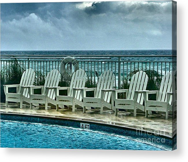 Gulf Of Mexico Acrylic Print featuring the photograph Poolside With A View by Julie Dant