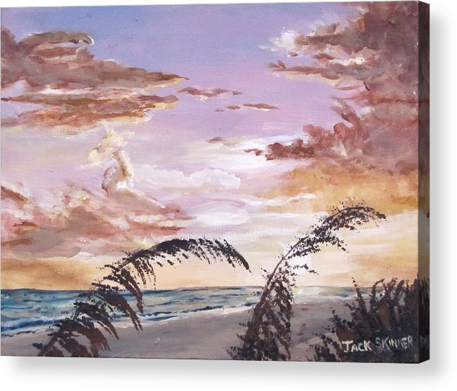 Sunset Acrylic Print featuring the painting Sanibel Island Sunset by Jack Skinner