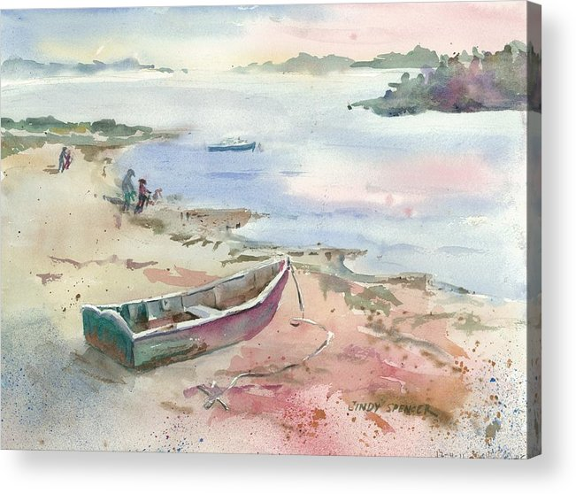 Skiff Acrylic Print featuring the painting Skiff At Sunset by Cindy Spencer