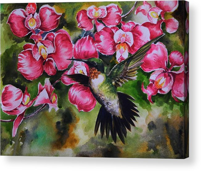 Floral Acrylic Print featuring the painting Sweet Nectar by Min Wang