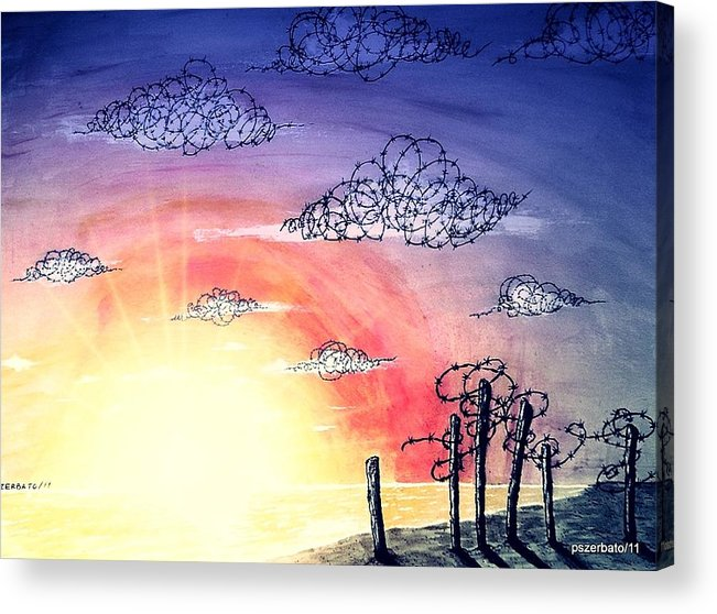 The Pain Acrylic Print featuring the digital art The Pain Of Sky That Will Never Be Calm by Paulo Zerbato