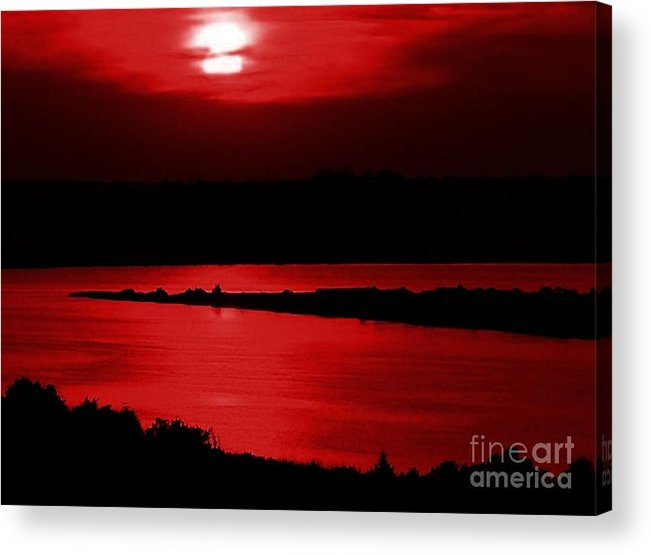 Sunset Acrylic Print featuring the photograph Topsail Island Blood-red Sunset by Julie Dant