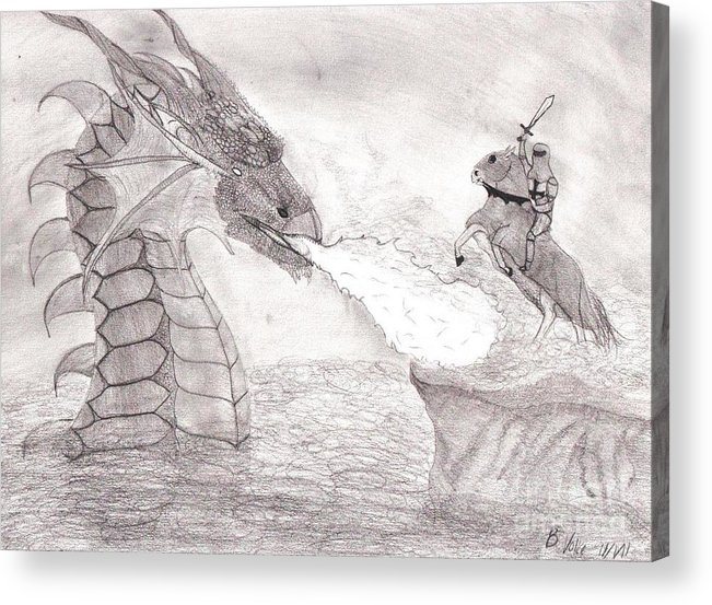 Valiant Acrylic Print featuring the drawing Valiant Warrior by Rebecca Volke