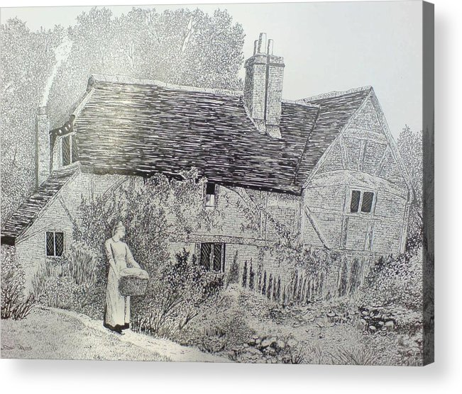 Cottage Acrylic Print featuring the drawing Washing Day by Andy Davis