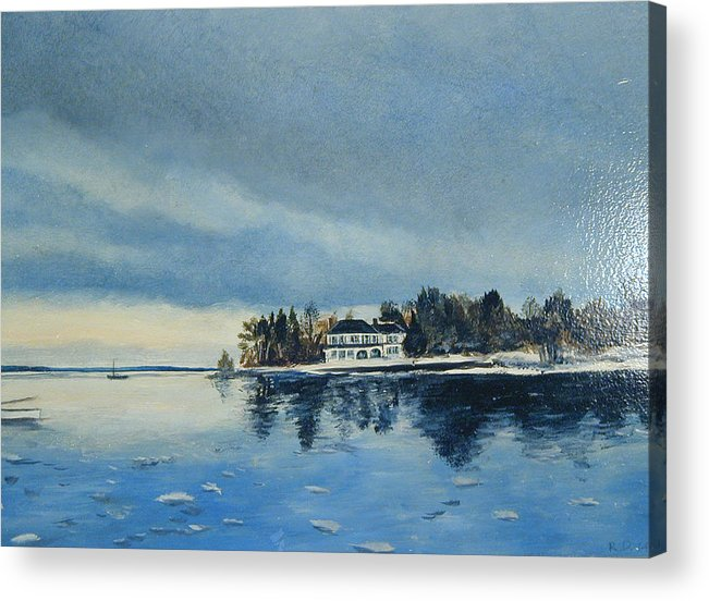 Harbor Acrylic Print featuring the painting Winter Tide by Robert Harvey