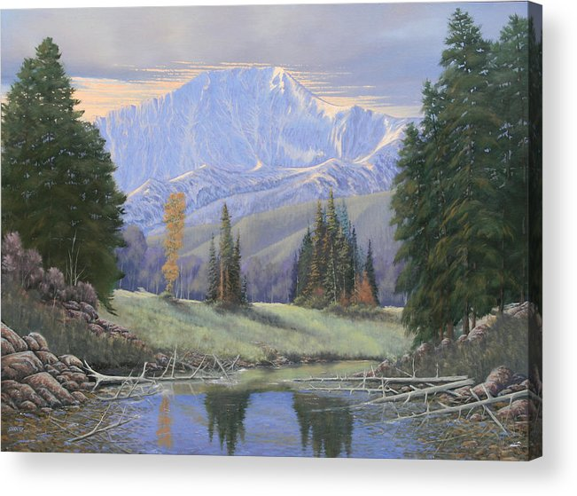 Landscape Acrylic Print featuring the painting 080324-4030 Breaking Through - Pikes Peak by Kenneth Shanika