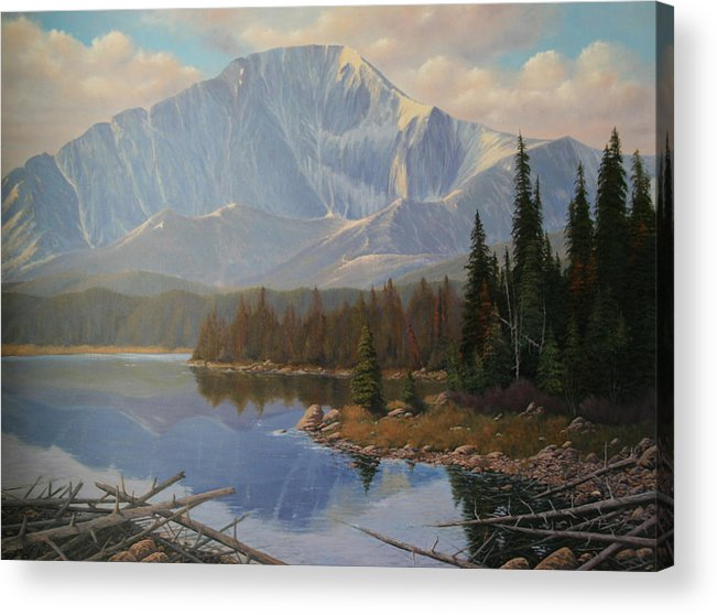Pikes Peak Acrylic Print featuring the painting 080625-3648 Holding On To Summer by Kenneth Shanika