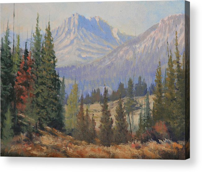 Landscape Acrylic Print featuring the painting 090915-68 Beckoning Solitude by Kenneth Shanika