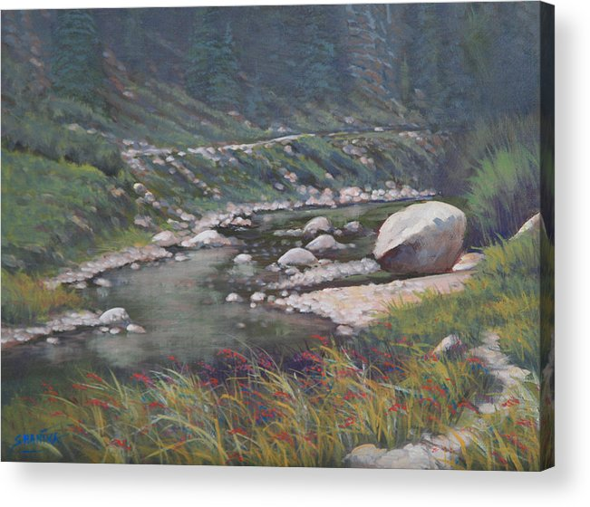 Landscape Acrylic Print featuring the painting 091001-912 Etched By Eons by Kenneth Shanika