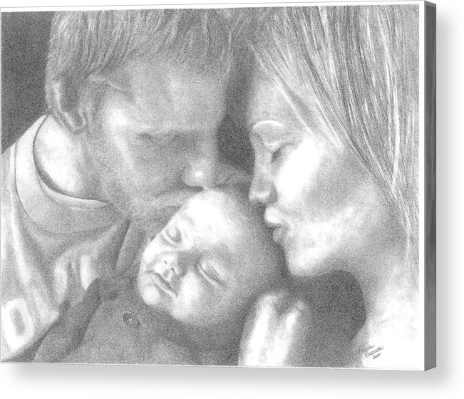 Graphite Acrylic Print featuring the drawing Cassiday Family 1 by Rhonda Rodericks