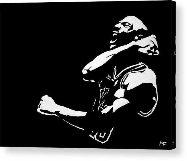 Michael Jordan Acrylic Print featuring the painting Greatness by Matthew Formeller